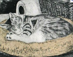 Cat by printmaker Kay Walker